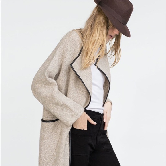 298378441745 Zara Wrap Sweater Coat WITH FAUX LEATHER PIPING. M 5a690cab2ae12fe8e73a7099